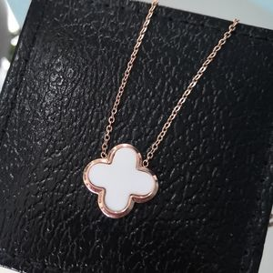 Jewelry - Stainless steel white clover necklace